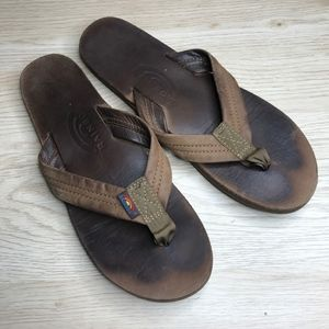 Rainbow leather flip flops